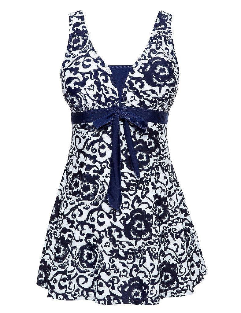67c8e0a4d6ee7 Wantdo Femme Maillots de Bain Une Pièce Robe pour Natation Sportif Monokini  Impression Élasticité Col en