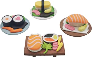 4 Pcs Sushi Miniature Figurines Resin Mini Food Props Decoration for Dollhouse Kitchen Accessories