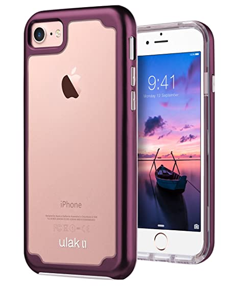f12ae8b357 iPhone 8 Case, iPhone 7 Case, ULAK Hybrid Durable Shockproof Flexible Soft  Clear TPU