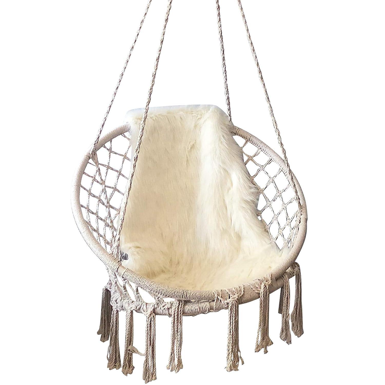 Feiren sedia amaca all'aperto coperta soggiorno appeso sedie Macrame altalena sedia a dondolo per camera da letto appeso sedie per camere da letto 1  hammock+1Blanket