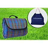 GOLDENKAYI Picnic Blanket Mat Waterproof Sand Proof Extra Large 200X200cm Portable for Festival Beach Travel Camping Outdoor indoor Black&Red Stripe