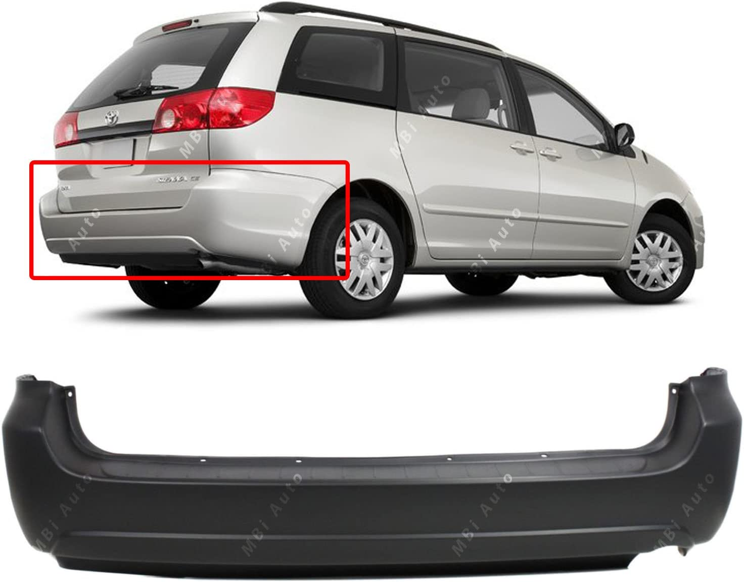 TO1100229 Rear Bumper Replacement Cover for 2004-2010 Toyota Sienna Minivan 04-10 MBI AUTO Primered