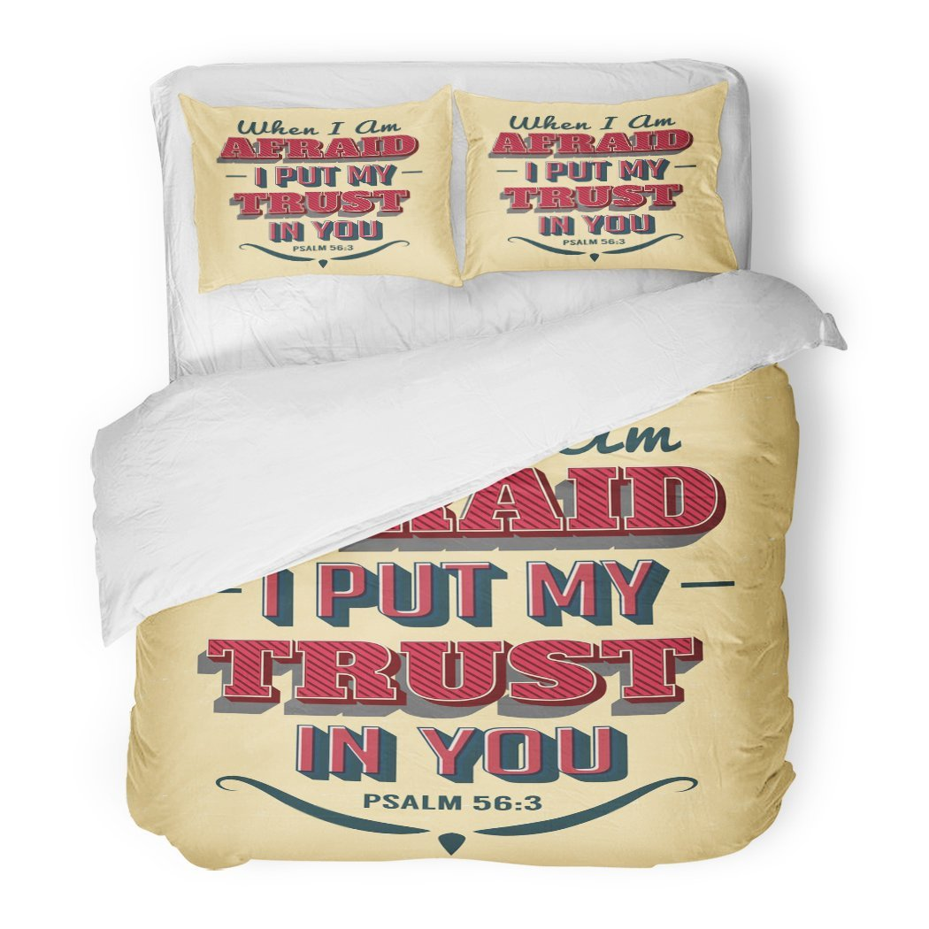 SanChic Duvet Cover Set Bible Scripture Vintage Christian Psalms When I'm Afraid I Put My Trust in You Retro Effects Decorative Bedding Set Pillow Sham Twin Size