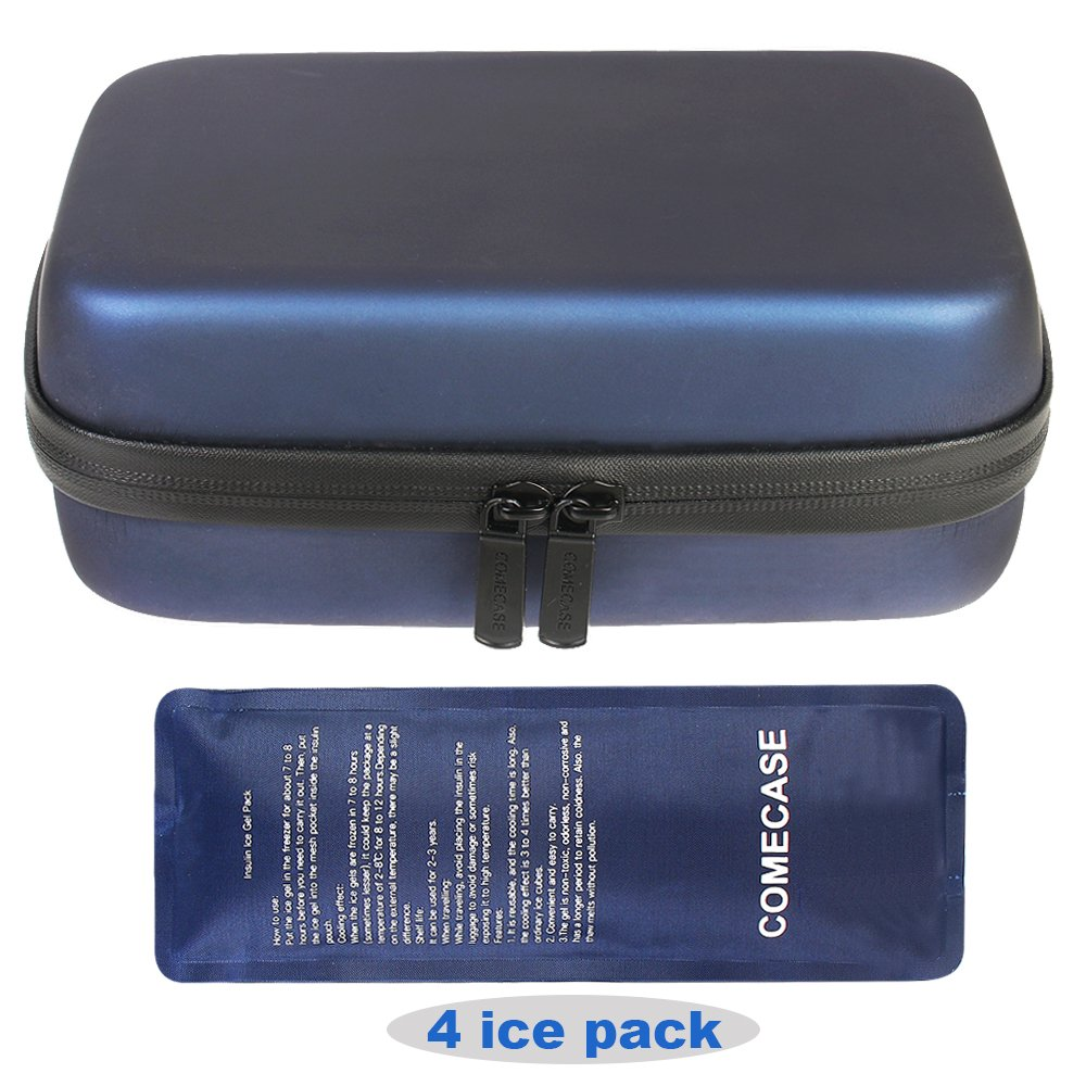COMECASE Portable Insulin Cooler Travel Case/Medical Cooling Bag/Diabetic Organizer + 4 Ice Pack
