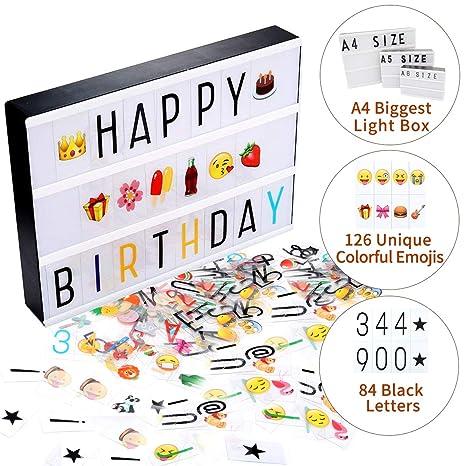Jeteven Boite Lumineuse Avec 210 Lettres Coloris Cinema Boite Lumineuse A4 Enseigne Lumineuse Led Avec 210 Lettres Et Symboles Decoration Chambre