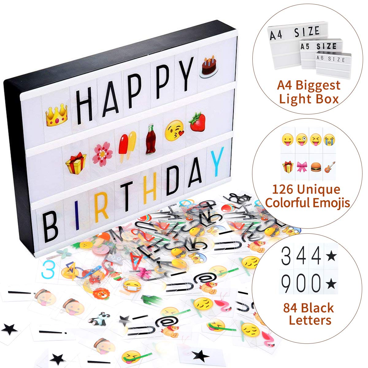Jeteven A4(12 x 8.74 inch) Cinematic Light Box,210 Letters and Colored Emojis Cinema Light Box, LED Lightbox for Home Decor/Wedding/Birthday Parties - USB/Battery Powered