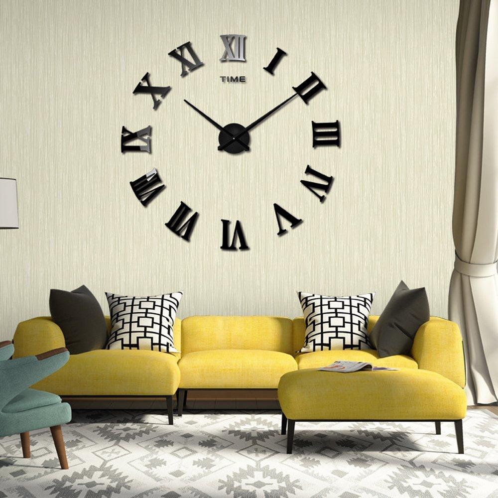 Amazon Cideros Large Wall Clock 3d Acrylic Mirror Sticker Roman