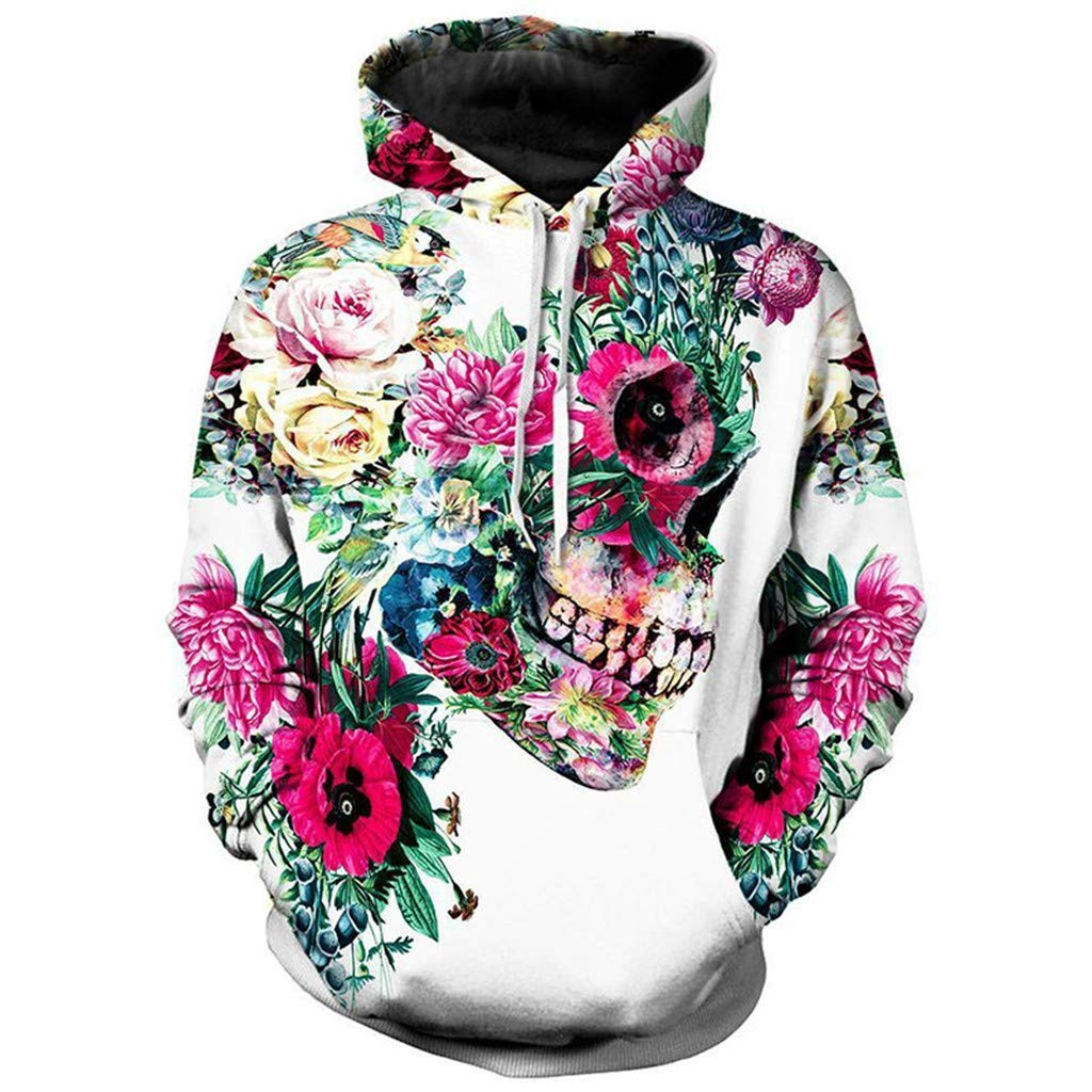 Xinantime Mens and Women Halloween Hoodie Sweatshirt Scary Print Long Sleeve Blouses for Halloween Evening Party White by Xinantime