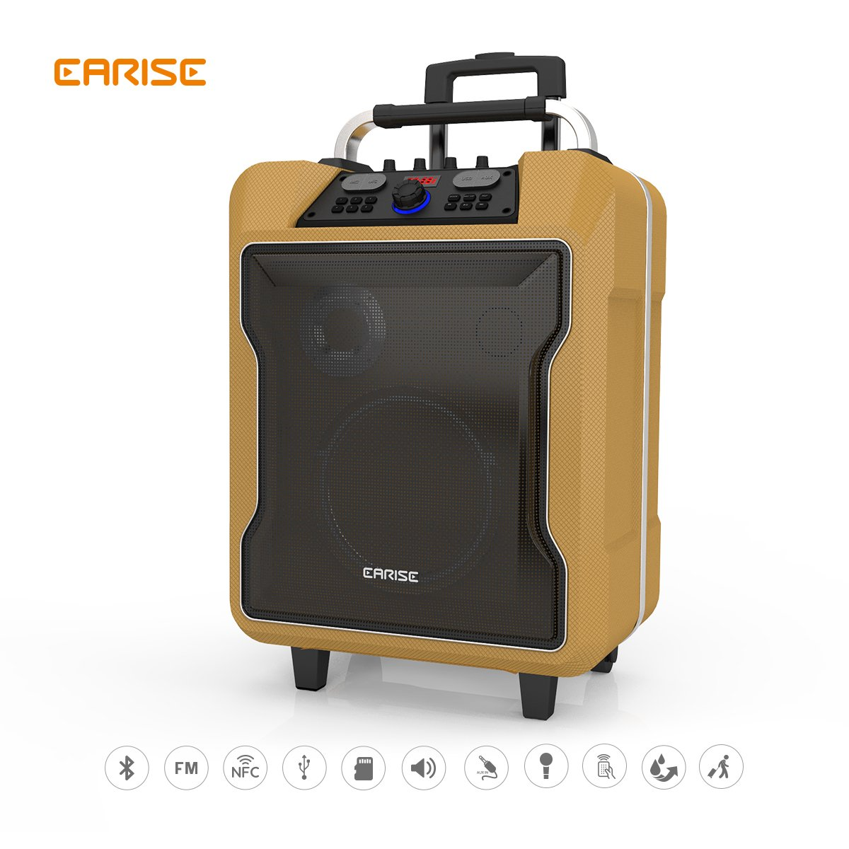 EARISE M60 Audio PA System, Bluetooth Loadspeaker, Soft Metal, 10'' Subwoofer, Wireless Microphone, Remote Control, Mic/Guitar Jack, Telescoping Handle & Wheels