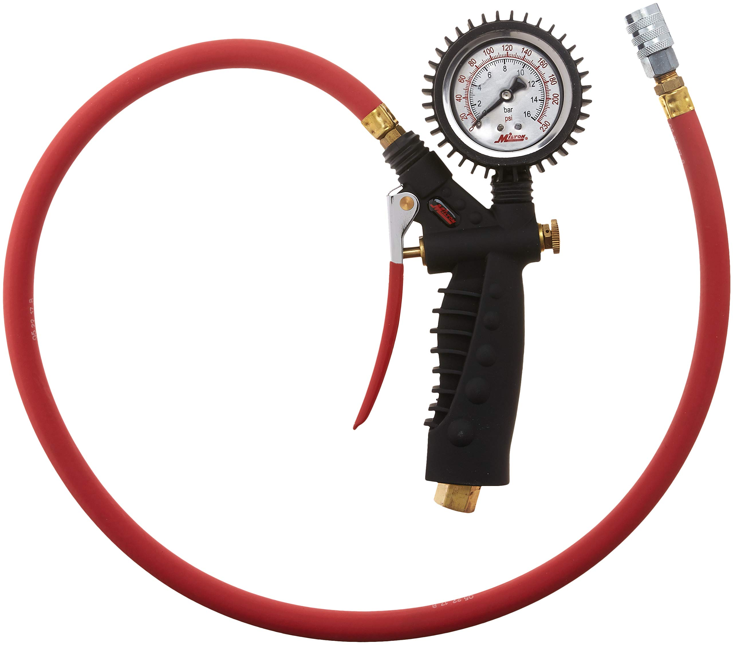 Milton 572A Pro Analog Pistol Grip Inflator Gauge - 36'' Hose and Kwik Grip Safety Chuck - 160 PSI