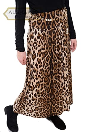 "e7a3b650726f 38"" Long Leopard Animal Print Skirt   Women Maxi Skirts Brown   Belt  included"