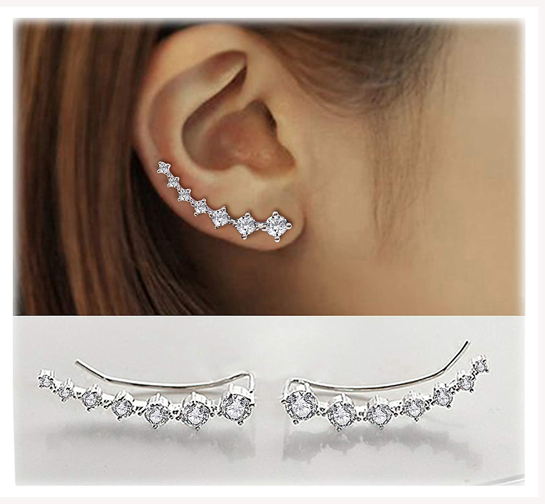 7 Cristales Ear Cuffs Hoop Climber S925 Sterling Pendientes de plata Pendiente hipoalergénico