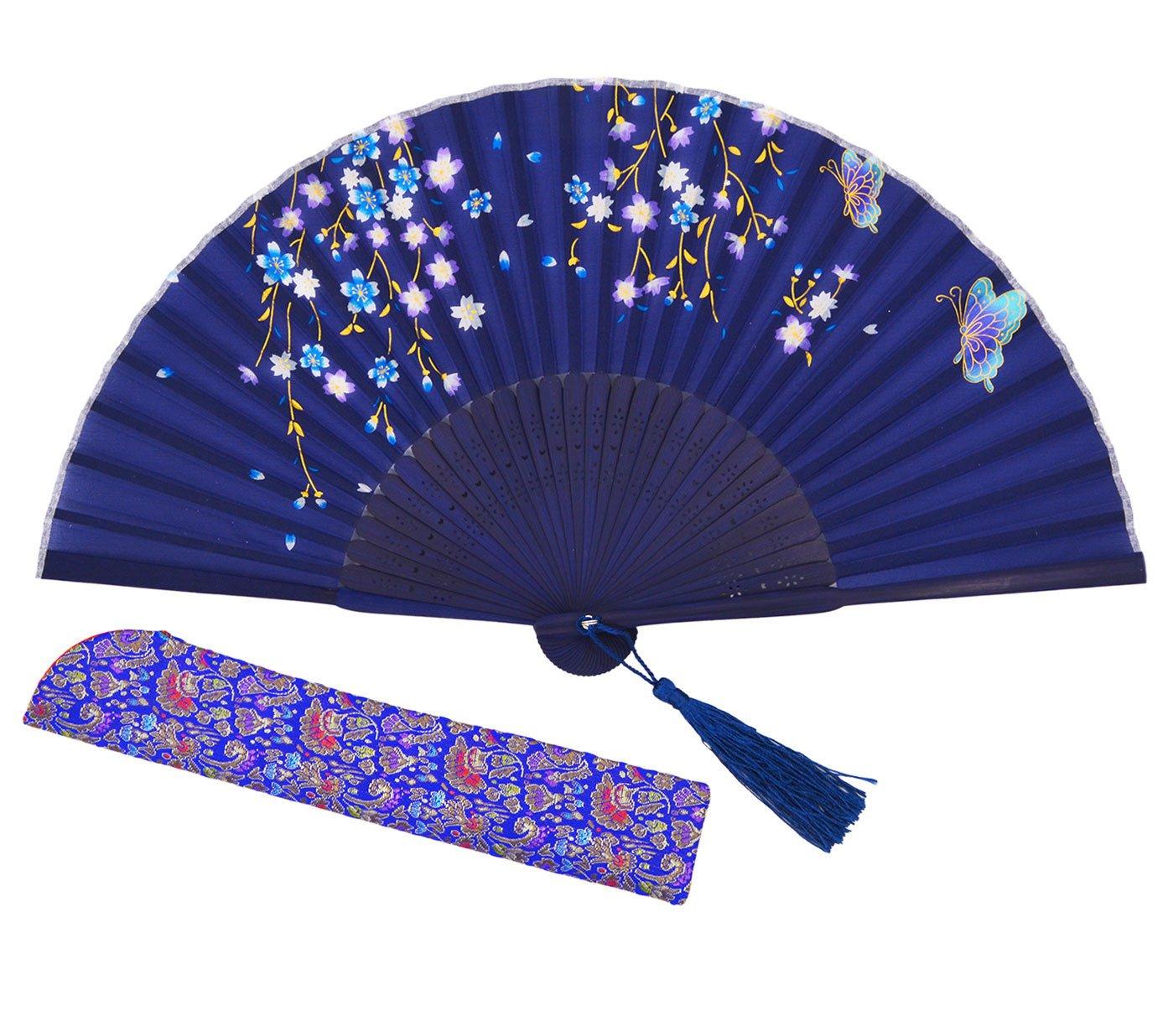 Meifan Chinese/Japanese Vintage Retro Style Handheld Folding Fan FML (Blue)