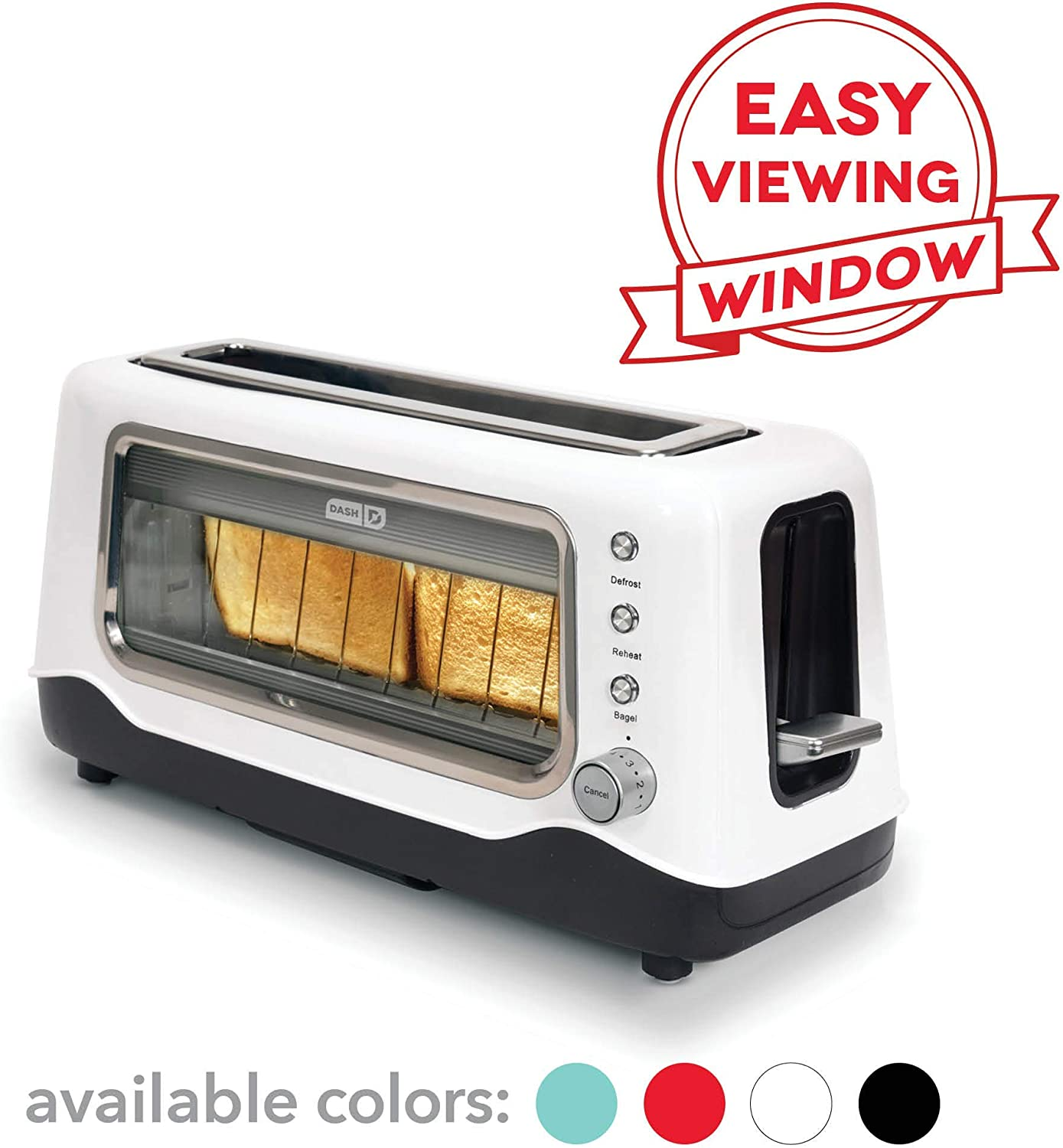 Dash DVTS501WH Clear View, Extra Wide Slot Toaster with Stainless Steel Accents , See Through Window, Defrost, Reheat , Auto Shut Off Feature For Bagels, Specialty Breads, and more/ White (Renewed)