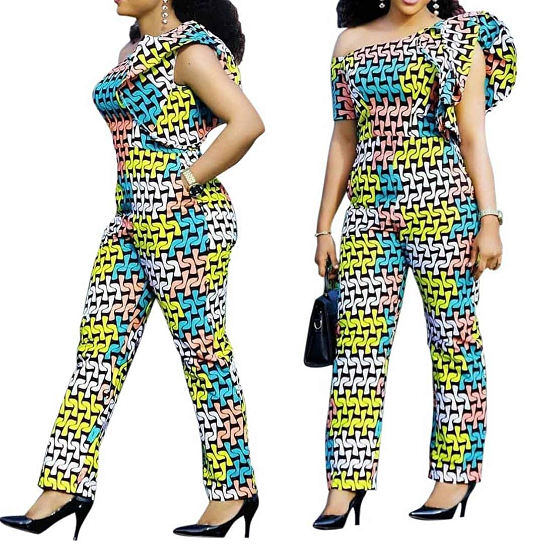 749a884b3a Amazon.com: VERWIN African Jumpsuit for Woman Print Ruffle Sleeve Wide Leg  Long Pants African Rompers: Clothing