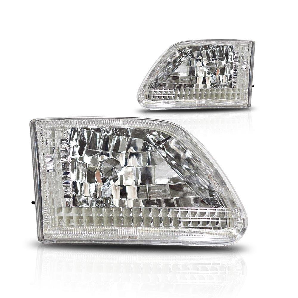 SCITOO Chrome Euro Expedition Headlight Headlamp for 1997-2002 Ford F-250 Pair Set 120003-5206-1034299651 WJ10-0014-01-121