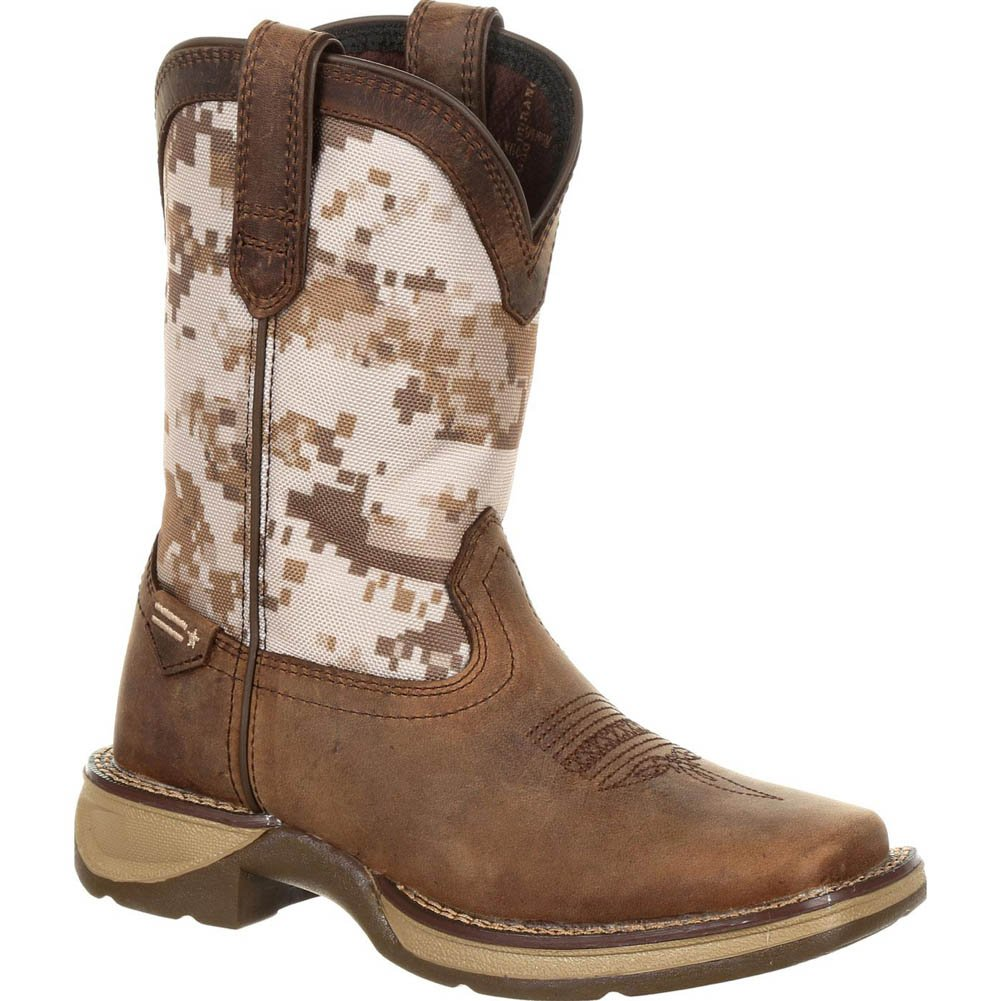 Durango Kid's Lil' Rebel Desert Camo Western Boots, Brown, Full-Grain Leather Vamp, Fiberglass, Mesh, Rubber, Nylon, 4 US Big Kid M