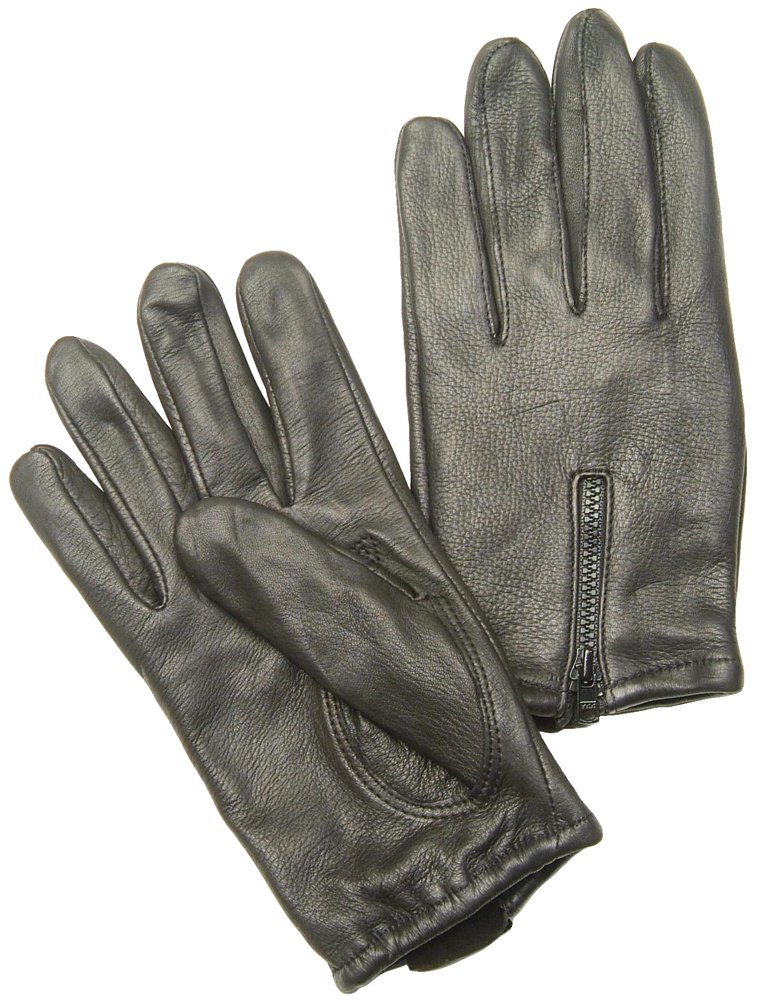Napa Deerskin Zipper Backed Gloves with Cotton Fleece Lining (Black, Small)