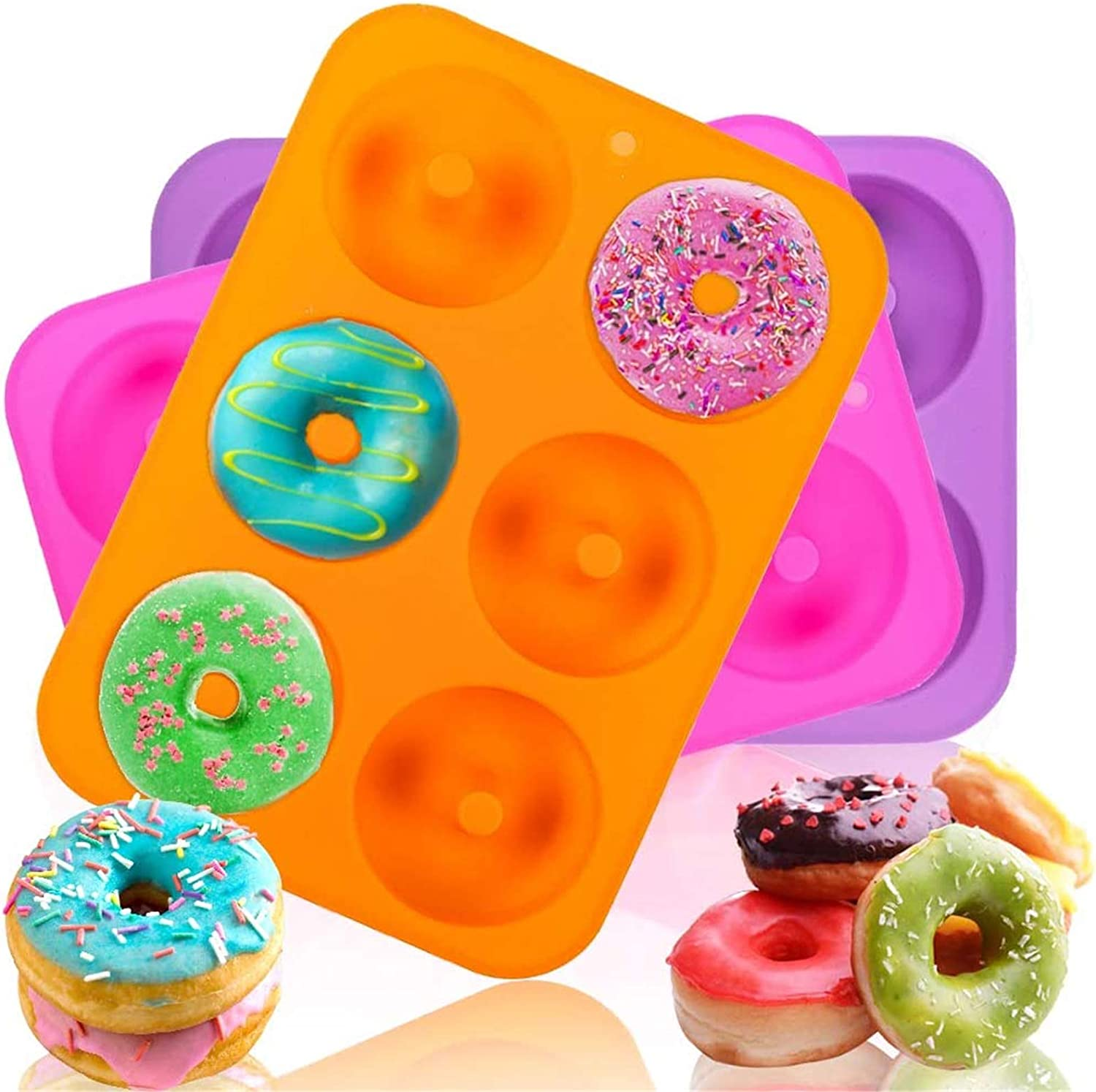 3pcs Donut Pan Mold, Silicone Cake Bagel Baking Doughnuts Mold,Tray Measures 10x7 Inches