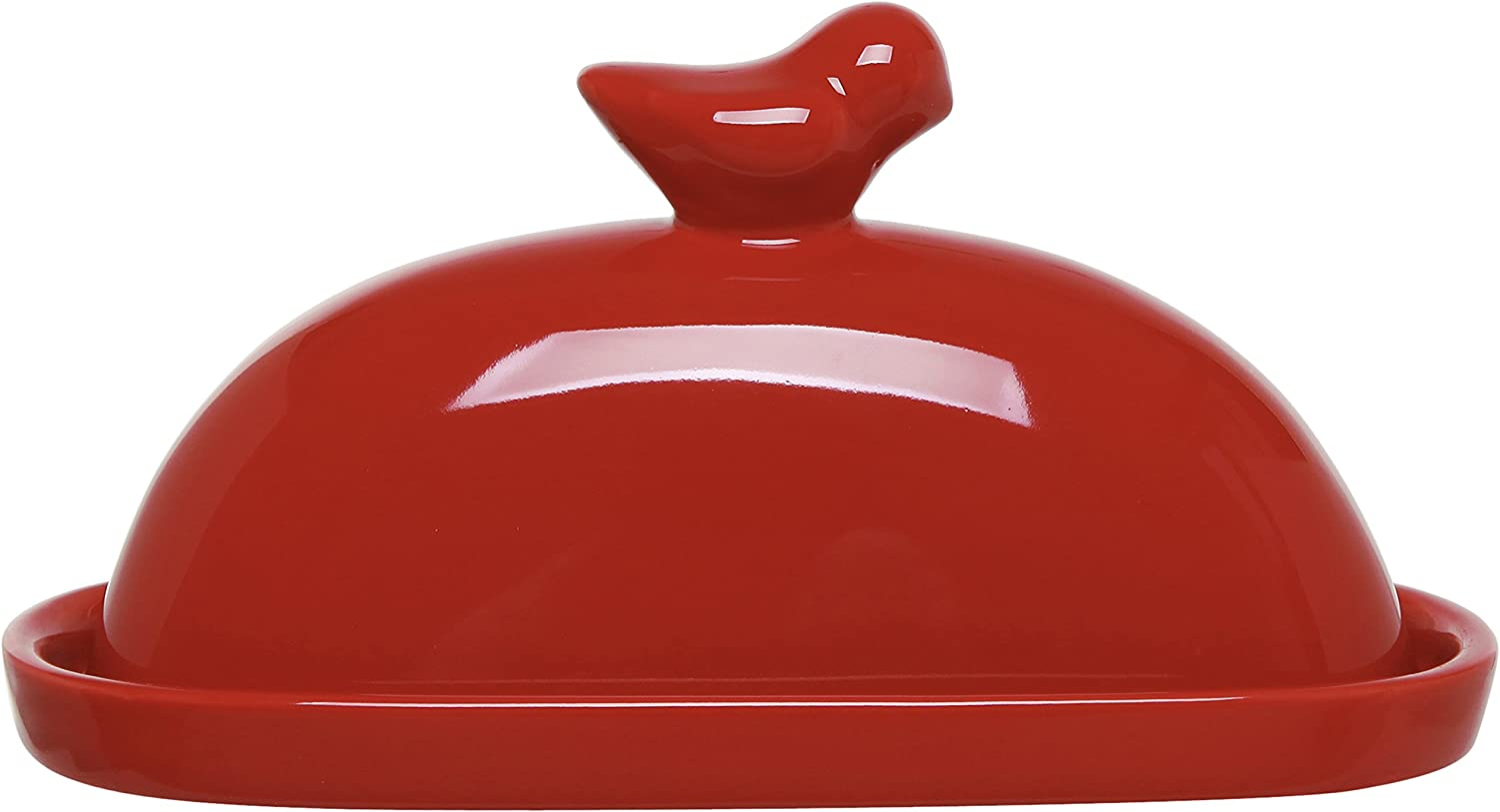 MyGift Red Bird Design Decorative Ceramic Butter Dish and Lid Cover