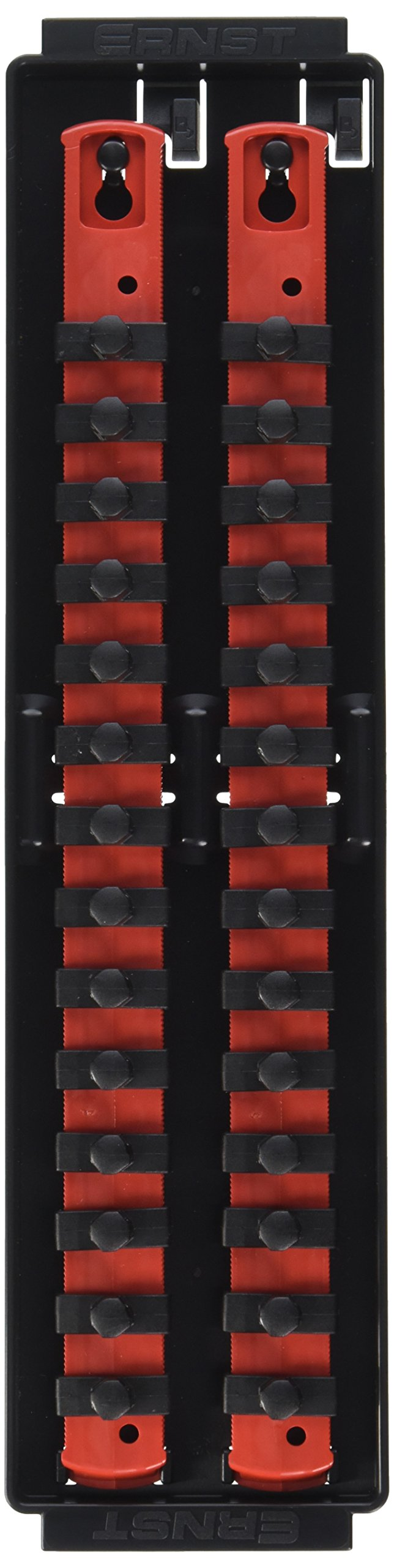 Ernst Manufacturing Socket Boss 2-Rail 3/8-Inch-Drive Socket Organizer, 13-Inch, Red