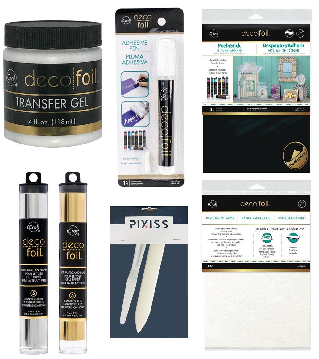 Foil Transfer Accessory Bundle Transfer Gel, Parchment Paper, Deco Foil Adhesive Pen, Deco Foil Peel N Stick Toner, Palette Knife, Bone Folder, Silver and Gold Foils