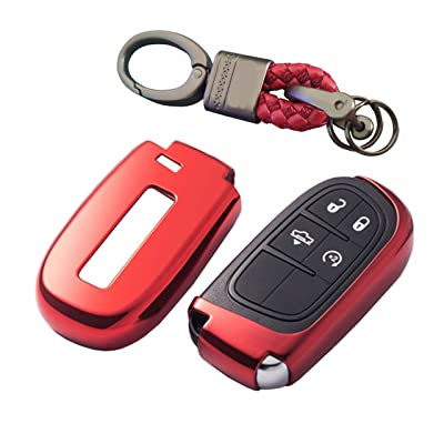 Premium Soft TPU Half Cover Protection Key Fob Shell With Have Logo Key Chain Fit For Jeep/Dodge/Chrysler Keyless Entry Smart Remote Key: Automotive
