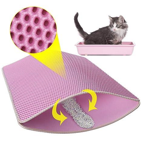 Comfook Alfombra para Gatos, Estera de Arena para Gatos, Doble Capa Impermeable EVA No Tóxico Adecuado para Arenero | Cat Litter Mat, 76 * 65 cm, Rosa