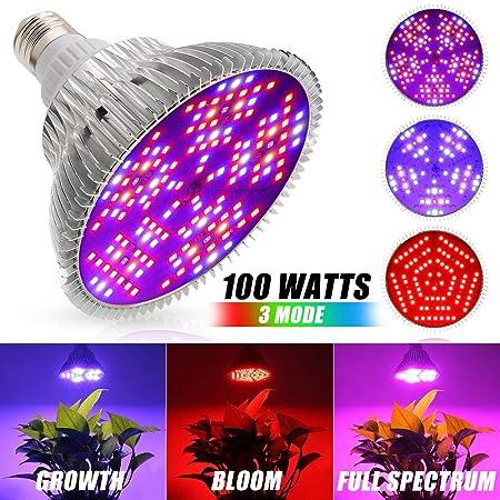Xingruyu LED Pflanzenlampe 100W Vollspektrum 3 Modus Pflanzenlicht E27 LED Wachstumslampe 150Leds Pflanzenleuchte für Zimmerp