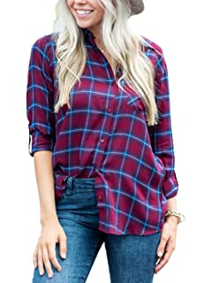 538bf2d4eb7c2 MISSLOOK Women s Plaid Shirts Button Down Tops Flannel Roll-up Sleeve  Blouses Tunics