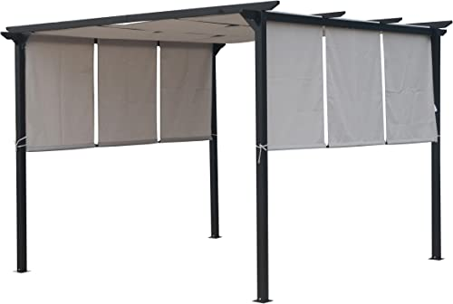 Christopher Knight Home 304383 Dione Outdoor Steel Framed 10 Gazebo, Grey, Brown