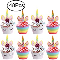 Unicorn Cupcake Topper, Standie 48 Pcs Toppers and Wrappers Unicorn Cupcake Toppers Wrappers Unicorn Party Supplies Unicorn Party Decoration Kit for Birthday and Baby Shower
