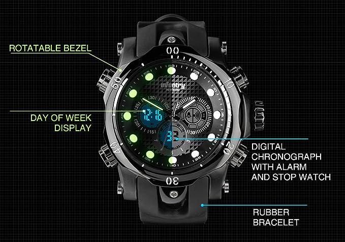 Para hombre de infantería analógico - digital reloj de pulsera cronógrafo Dual tiempo Sport Multi Función correa de caucho de color negro: Amazon.es: ...