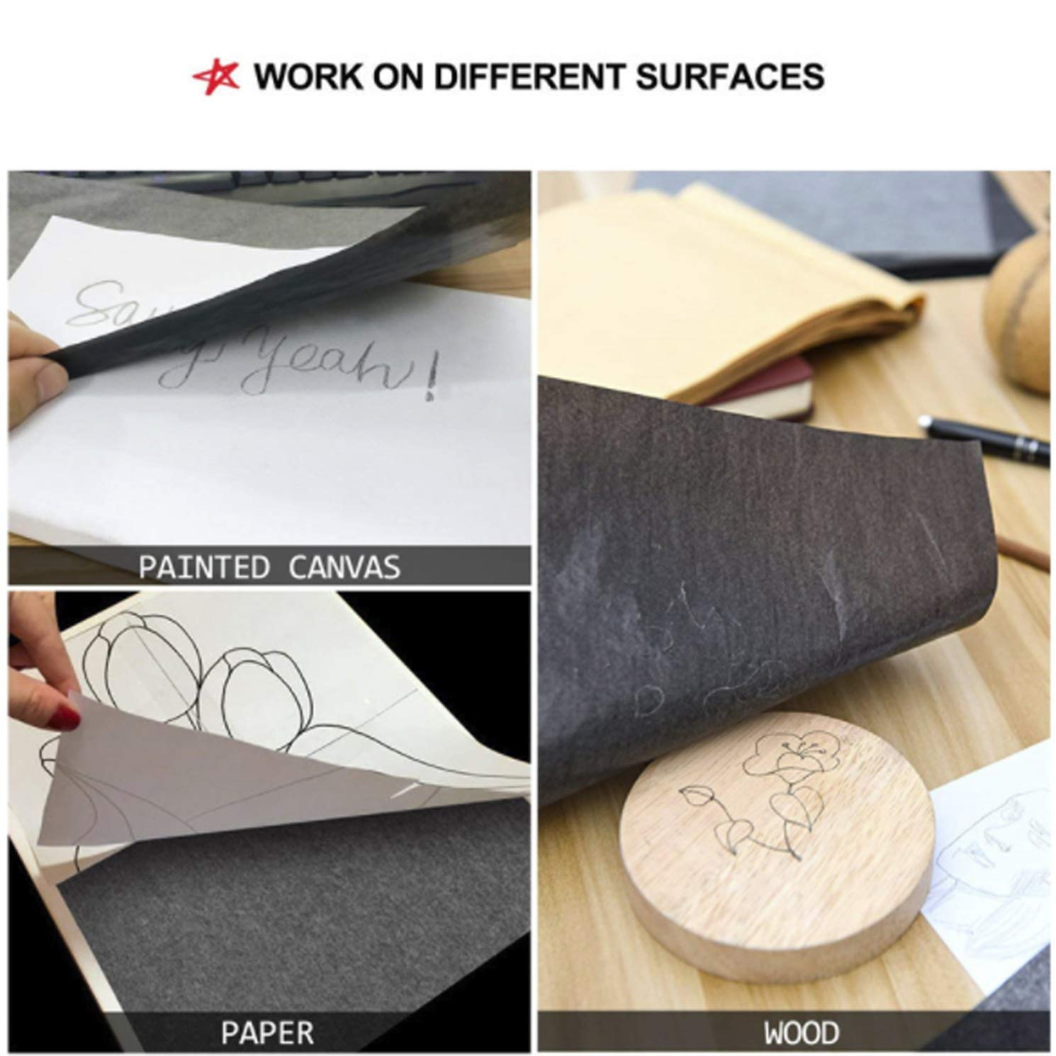 Canvas and Other Art Surfaces 150 Sheets Carbon Transfer Paper with Embossing Stylus Set,Black Carbon Transfer Tracing Paper for Wood 9 x 13 Inches Paper