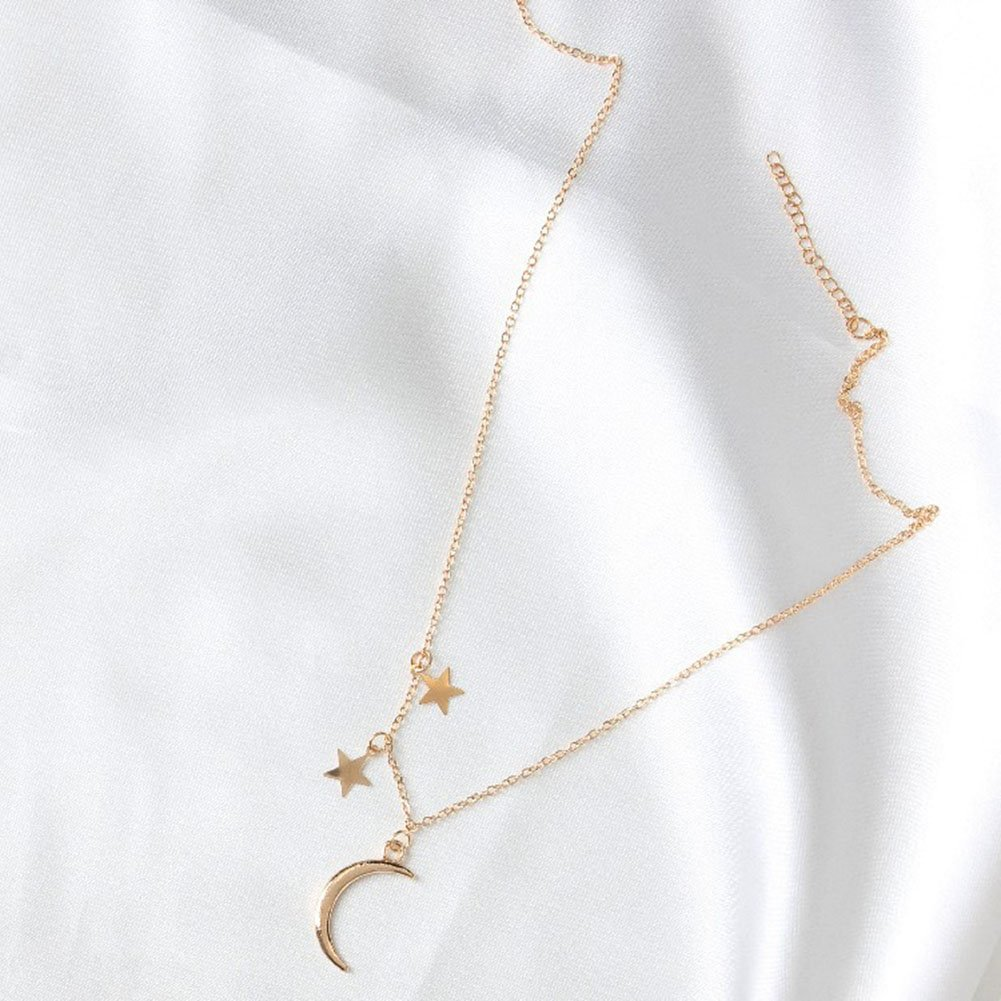 Golden FOReverweihuajz Unique Moon Star Pendant Necklace Fashion Women Jewelry Party Charm Gift