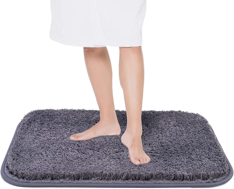 "Asrug Bathroom Rug Bath Mat Non Slip Shower Shaggy Floors Mat Water Absorbent Plush Machine Washable Soft Mirofiber Carpet, Dark Grey, 16""x24"""