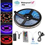BAILIDA StripSun LED Strip Lights SMD 5050 Waterproof 16.4ft 5M 300leds RGB Color Changing Flexible LED Rope Lights with 44Key Remote +12V 5A Power Supply +IR Control Box