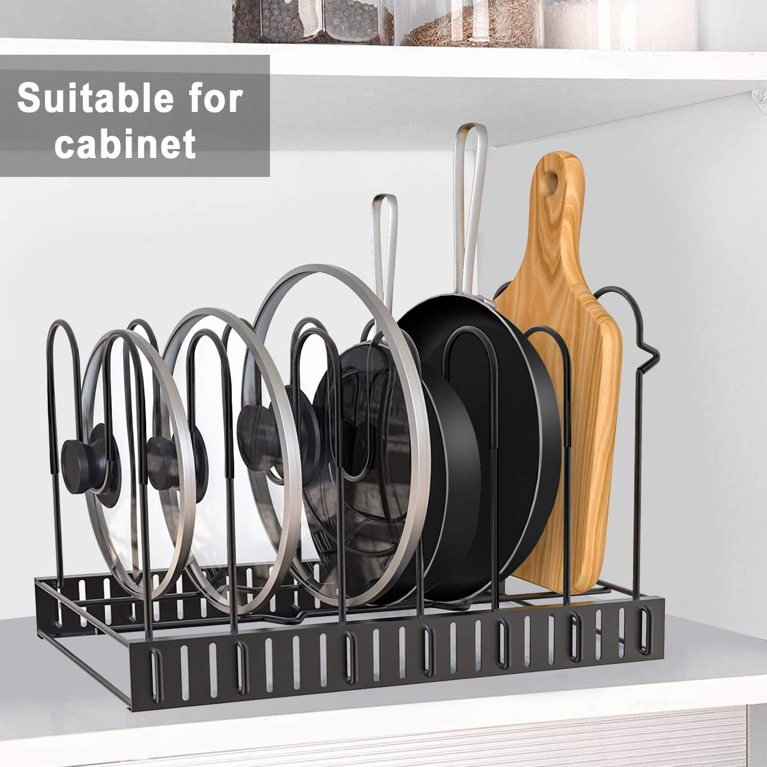 Pot Rack Organizers, G-TING 8 Tiers Pots and Pans Organizer, Adjustable Pot Lid Holders & Pan Rack for Kitchen Counter and Cabinet, Lid Organizer for Pots and Pans With 3 DIY Methods(2019 Upgraded) by G-TING (Image #4)