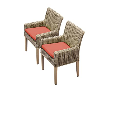 Bon TK Classics Cape Cod 2 Piece Dining Chairs With Arms, Tangerine