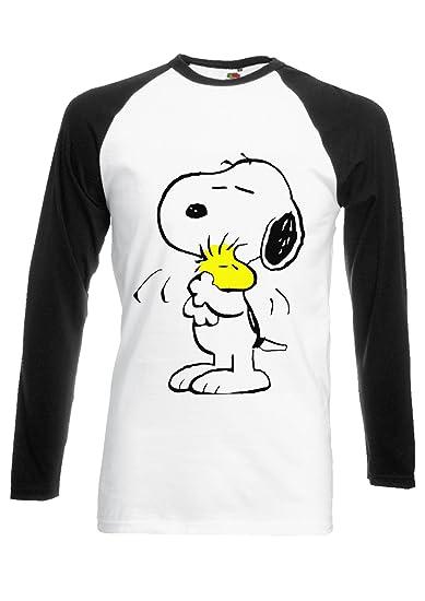 018ccdbf5a0 Amazon.com  Snoopy Peanuts Cartoon Happy Cute Black White Men Women Unisex  Long Sleeve Baseball T Shirt  Clothing