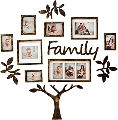 Picture Frame Gallery Collection Display Tree Shape Ready to Hang Stand with Built in Easel Hello Laura 13PCS White Tree Photo Frame Family Theme Set Black
