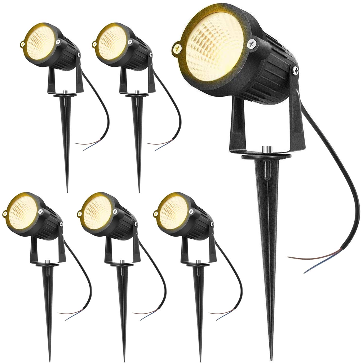 Hypergiant 12W LED Landscape Lights Low Voltage (AC/DC 12V) Waterproof Garden Yard Path Lights Super Warm White(850LM) Walls Trees Flags Outdoor Spotlights with Spike Stand (6 Pack) by Hypergiant