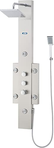 Aston 6-Jet Stainless Steel Shower Baseel System with Rainfall Shower Head and Hand Shower, Stainless Steel