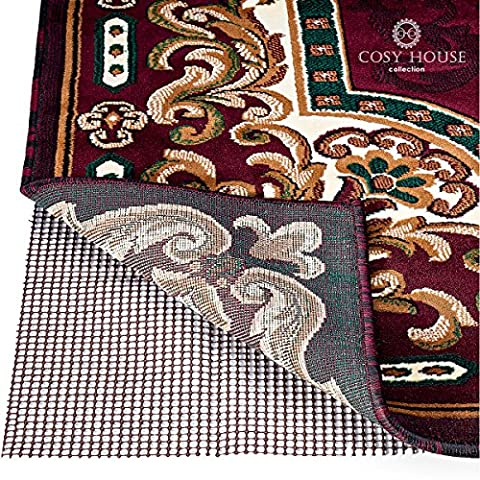 Non-Slip Area Rug Pads by Cosy House - Fully Washable, Best Pad for Firm Hold on Oriental, Traditional or Contemporary Rugs & Mats on Hard Surface Floors Like Wood, Tile or Cement (5 x (Clear Plastic Area Rug)