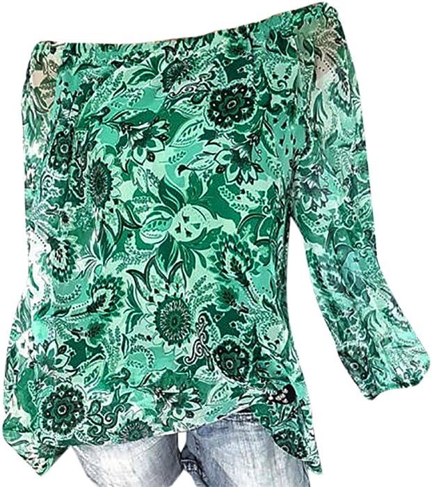 6461fae0875060 Maonet ❤ ❤ Women Autumn Blouse Women Plus Size Blouse Off Shoulder Floral  Print