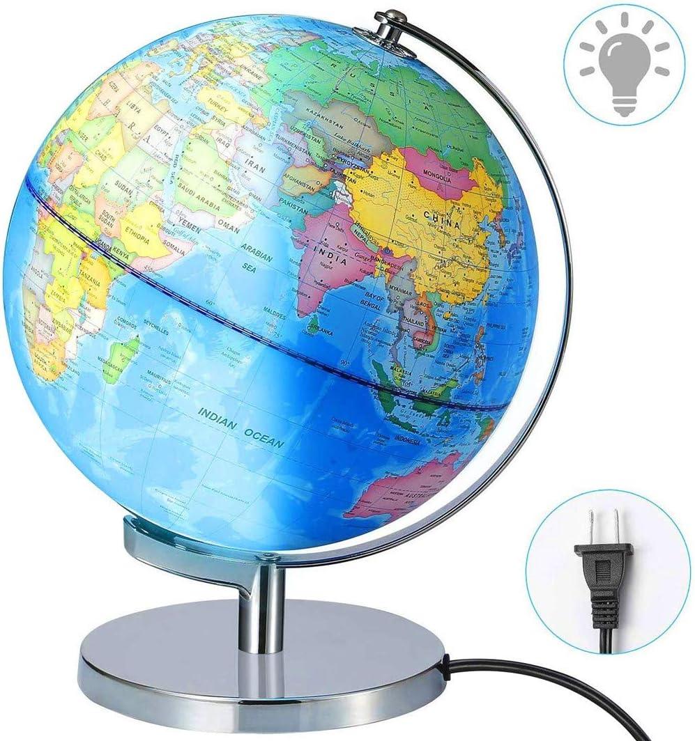 Y DWAYNE Globe terrestre lumineux USB 2 en 1 avec support et carte du monde pour enfants et adultes