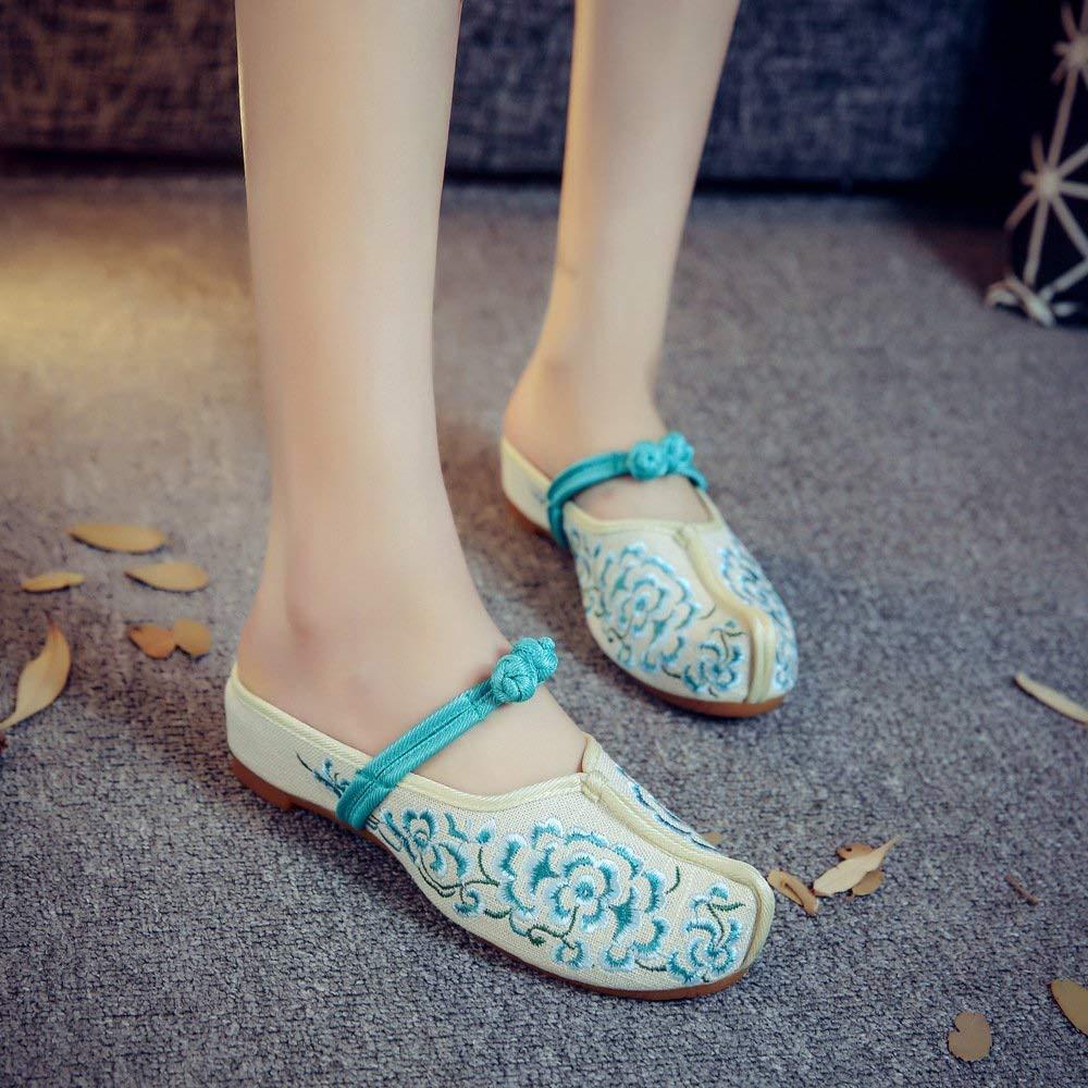 Bestickte Schuhe Sehnensohle ethnischer Stil weiblicher weiblicher weiblicher Flip Flop Mode bequem Sandalen grün 36 (Farbe   - Größe   -) d7878b