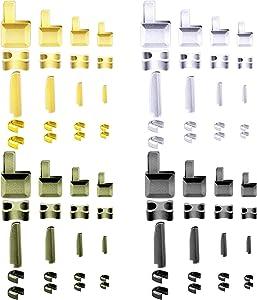 SAVITA 80pcs Metal Zipper Latch Slider Zipper Stops Retainer Insertion Pins Zipper Stopper Repair Kit for Coats Jacket Repair and Replacement (4 Sizes: #3, 5, 8, 10)