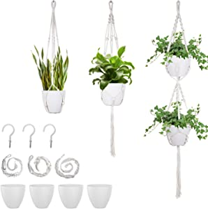 Macrame Plant Hangers with Pots - 7Inch Plastic Planter with Indoor Hanging Planters Basket Holder - Handmade Cotton Wall Hanging Planters for Home Decor, White, 3pcs Plant Hangers, 4 Flower Pots