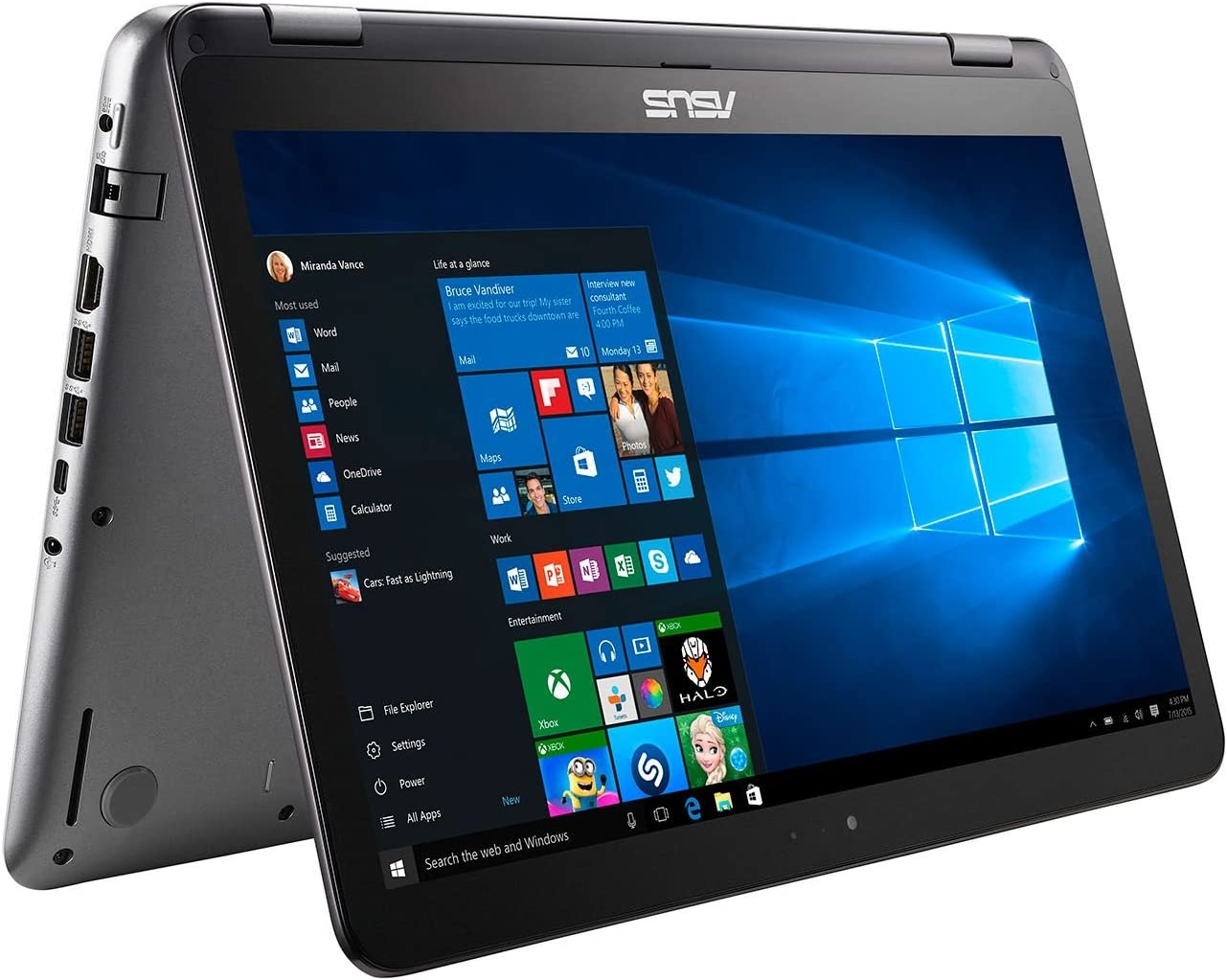 "2017 ASUS Convertible 2-in-1 15.6"" Full HD Touchscreen High Performance Laptop PC, Intel Core i5-7200 2.5GHz, 8GB RAM, 1TB HDD + 128GB SSD, NVIDIA GeForce 940MX, HDMI, Bluetooth, USB 3.1, Windows 10"